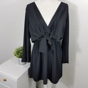 Topshop Black Tiffany Knot Mini Dress Size 12